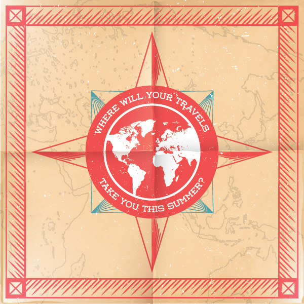 Vintage Compass Vector Graphic