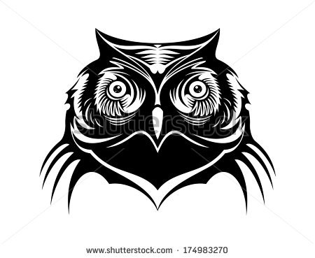 Wise Old Owl Black and White