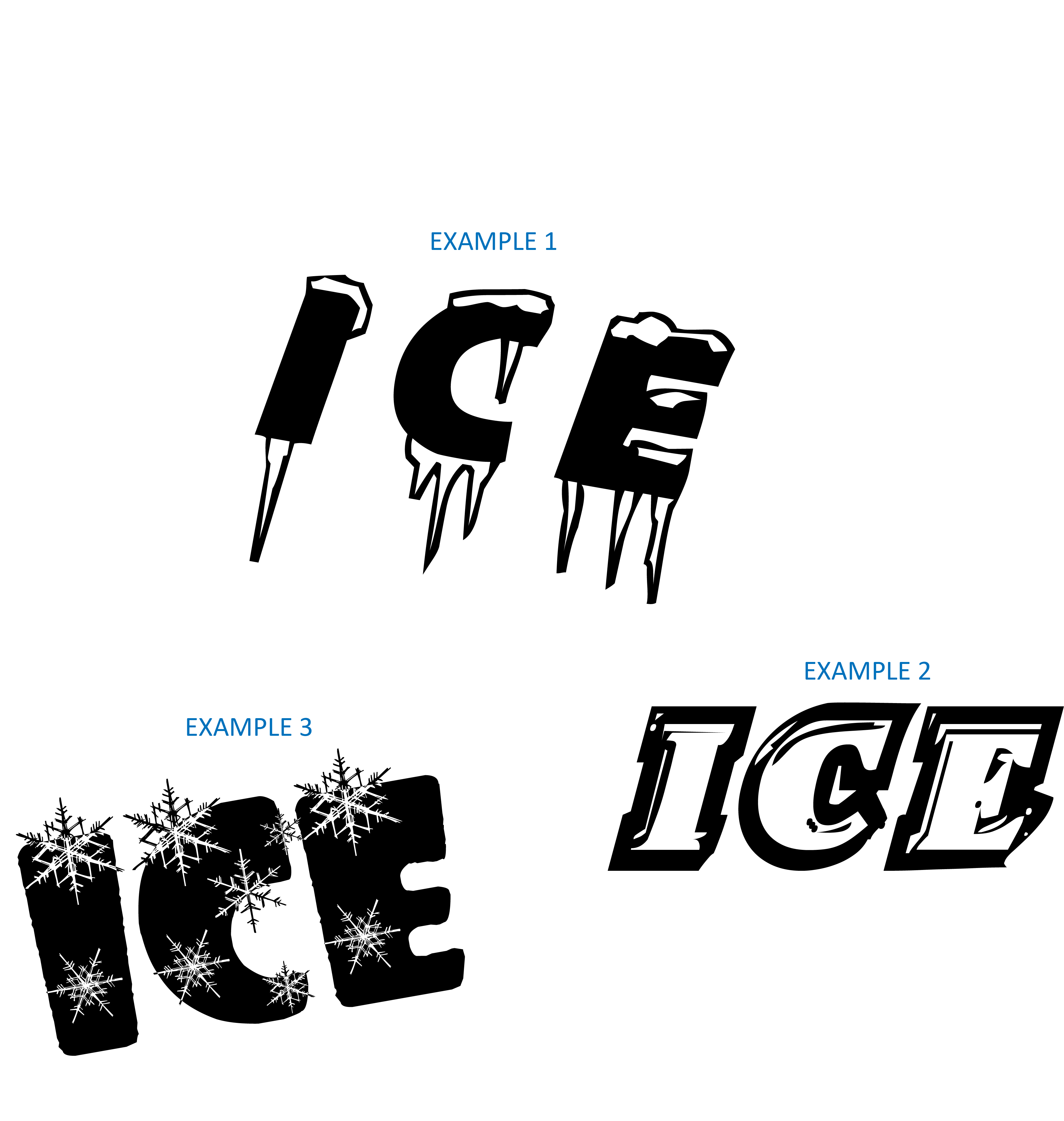 17 the word on it with ice or snow cold fonts images