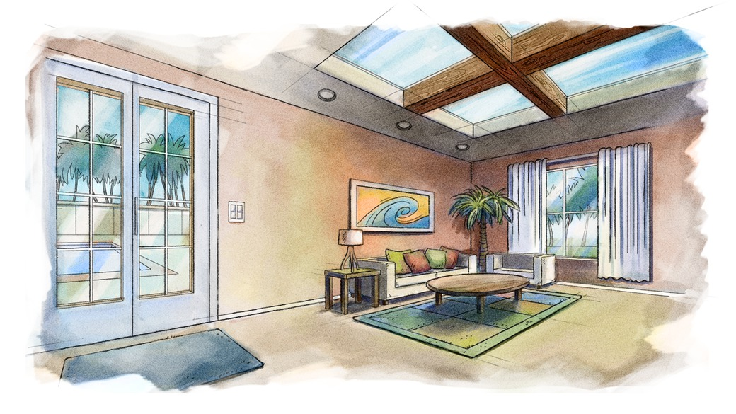 2-Point Perspective Interior Drawing