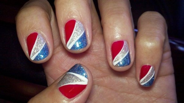 4th of July Toe Nail Art Designs