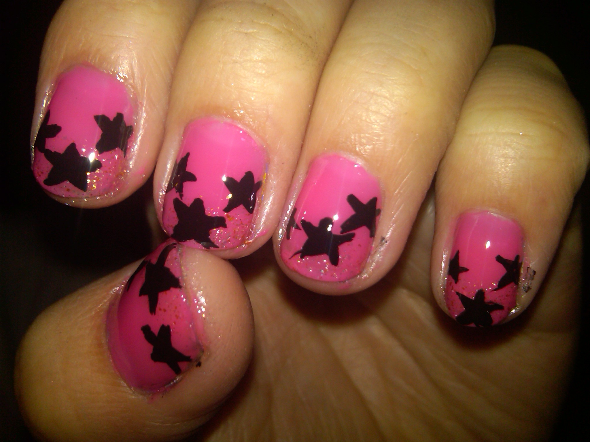 Black and Pink Acrylic Nail Design