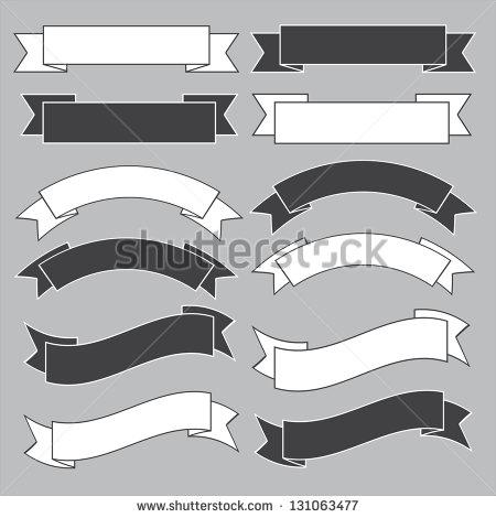 Black and White Ribbon Banner