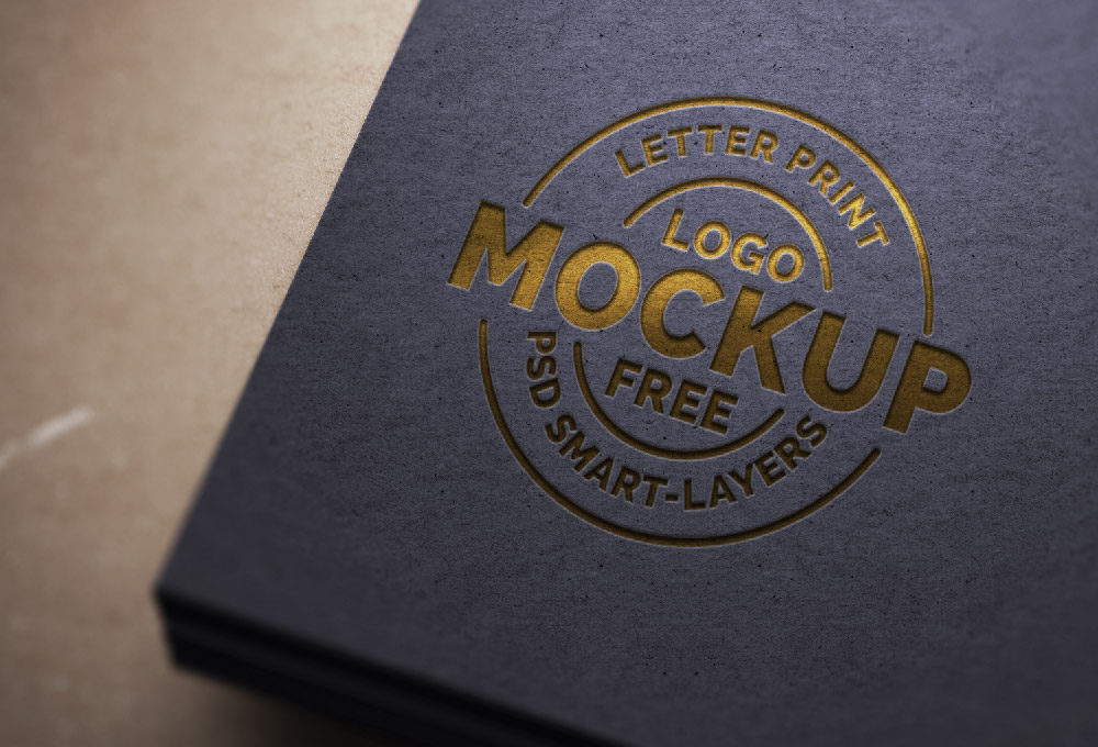 8 Letterpress PSD Mockup Your Logo Images
