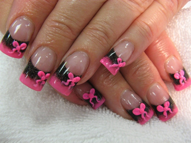 Black with Pink Bows Nail Art