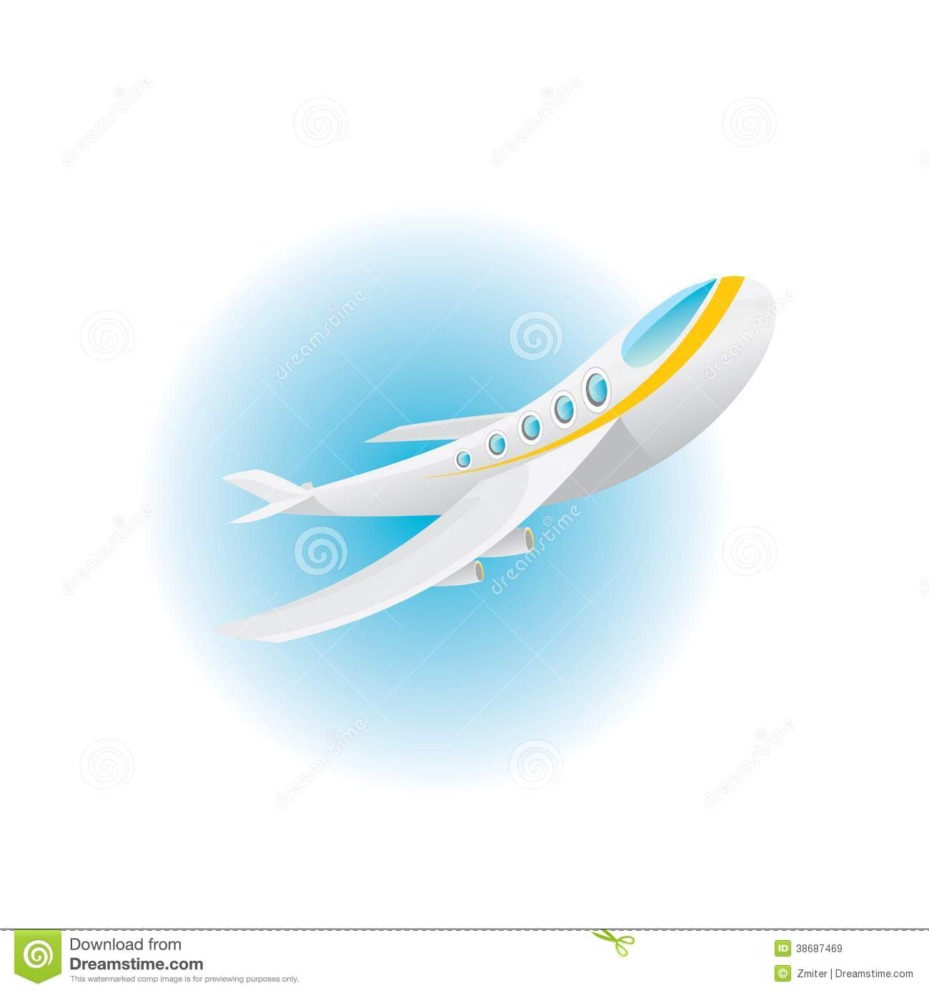 Blue Airplane Icon Vector