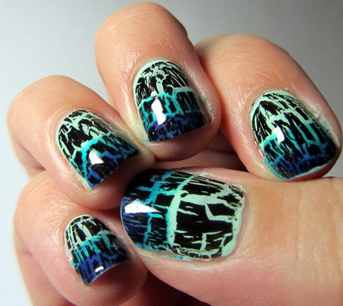Blue Crackle Nail Polish