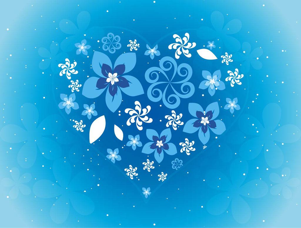 Blue Flower Heart Clip Art