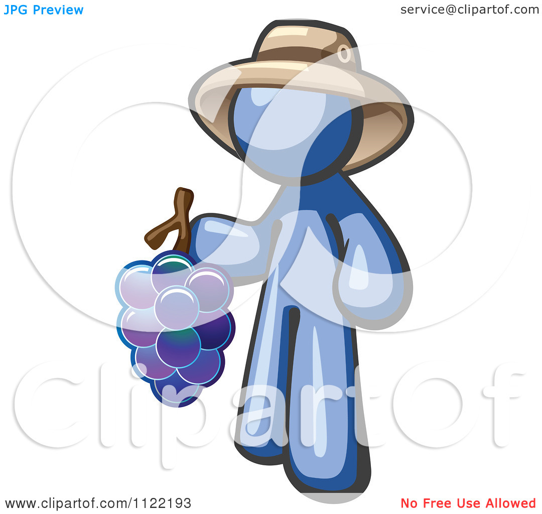 Blue Man with Hat Cartoon Image