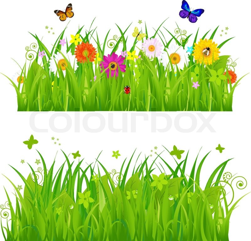 18 Grass Vector Background With Flowers Images Simple Cartoon