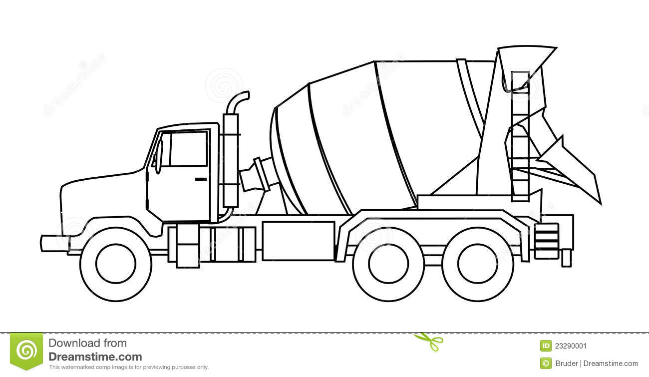 concrete mixer truck coloring pages - photo#29
