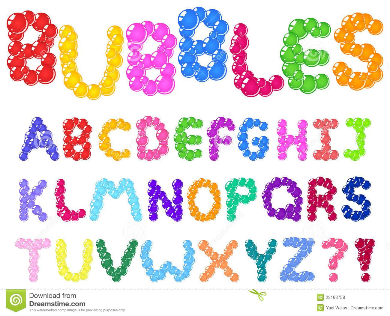 Cute Bubble Letters Alphabet