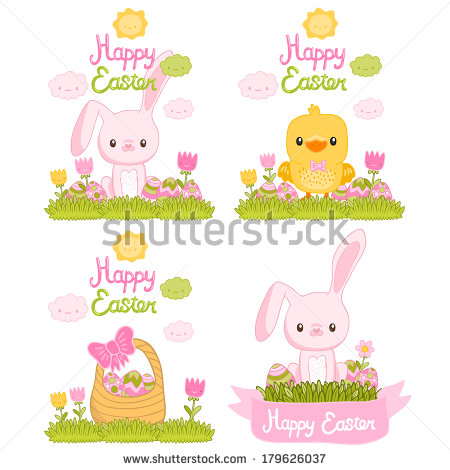 Cute Cartoon Easter Bunny with Basket