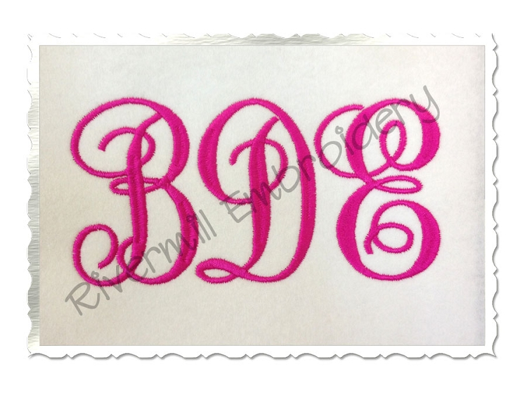Fancy Curly Monogram Font Machine Embroidery