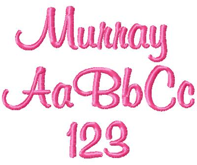 6 Murray Font Embroidery Images