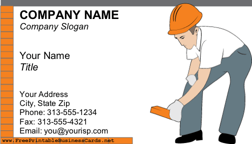 Free Printable Construction Business Cards
