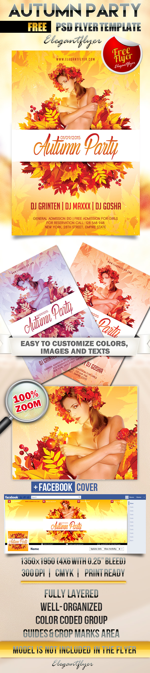 7 Fall Party Flyers PSD Images