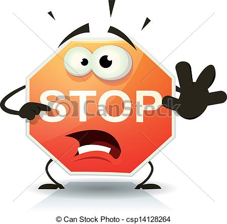 Funny Cartoon Stop Sign