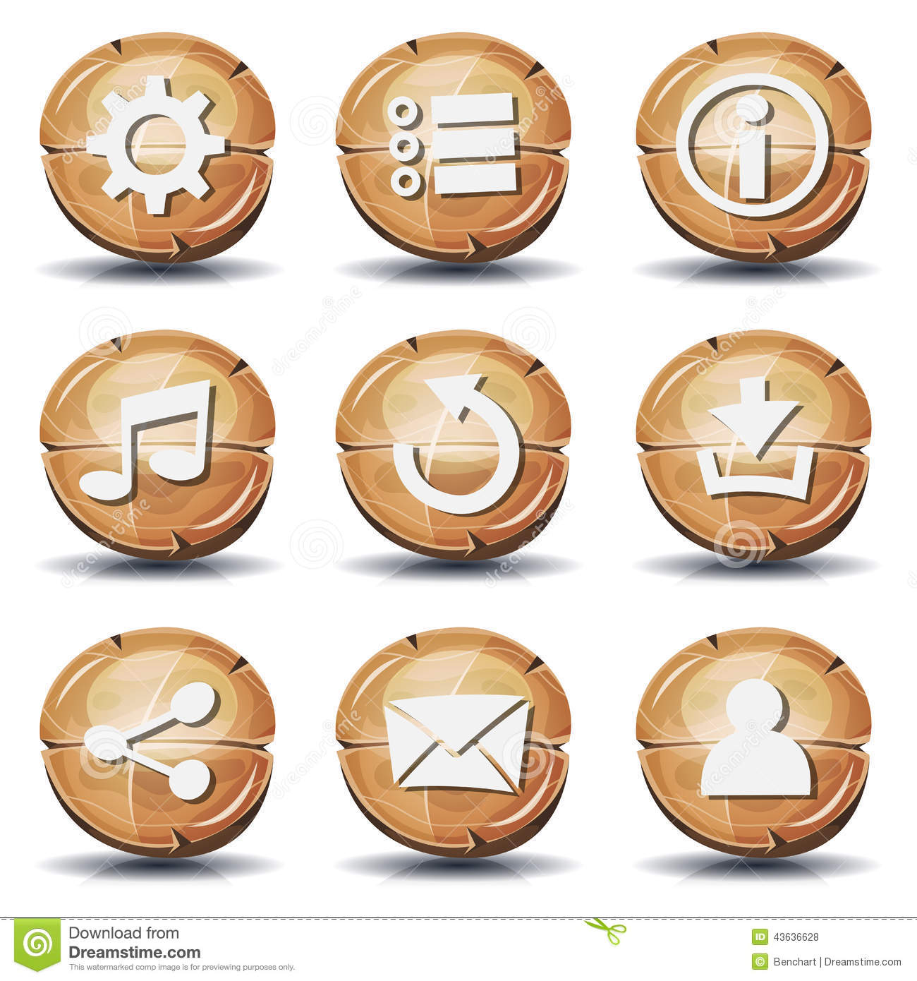 7 Wooden Game Icon Images