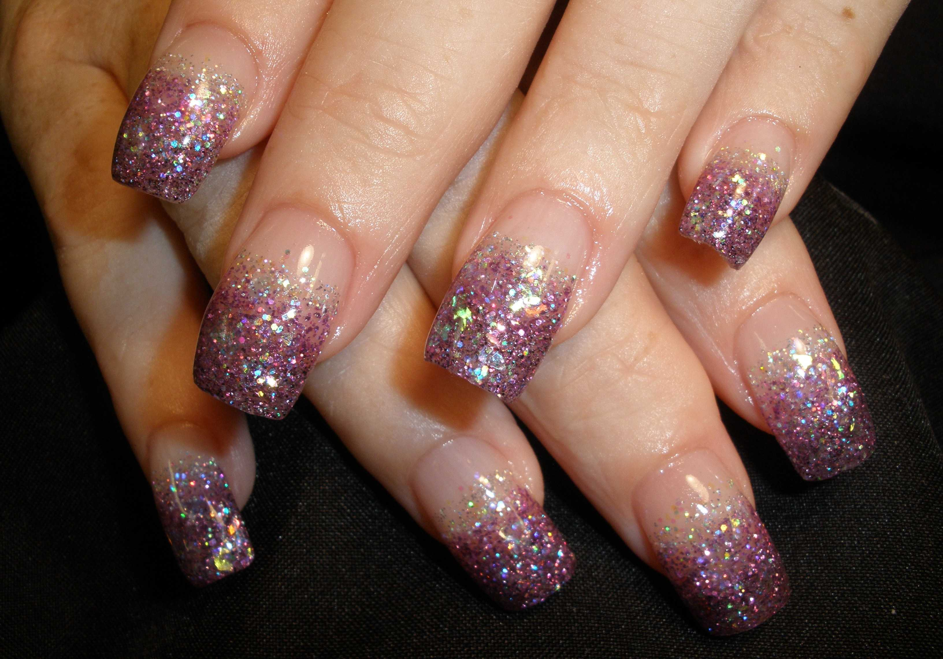 6 Gel Nail Designs With Glitter Images