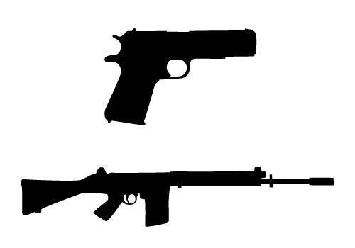 19 9 Gun Silhouette Vector Images