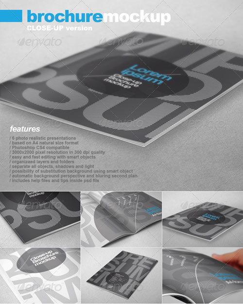 20 Letterhead Templates Mockups That Will Save You Time: 14 Up Close Brochure PSD Mockups Images