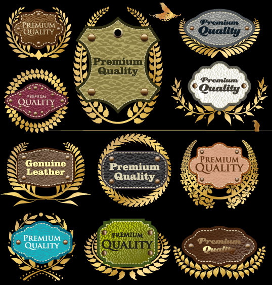 Leather Label Collection Vector