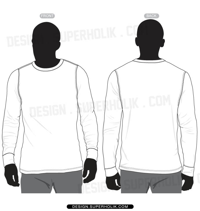Long Sleeve Shirt Template Vector