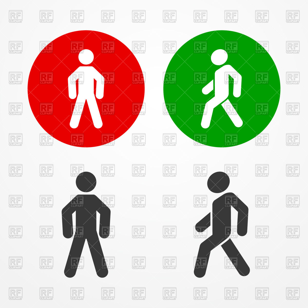 Man in Traffic Light Walk Signs