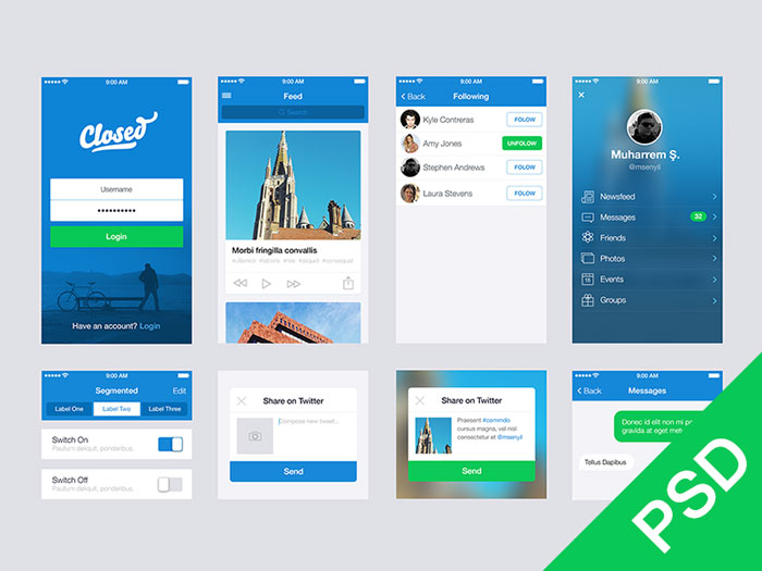 15 Free PSD UI Mobile Images