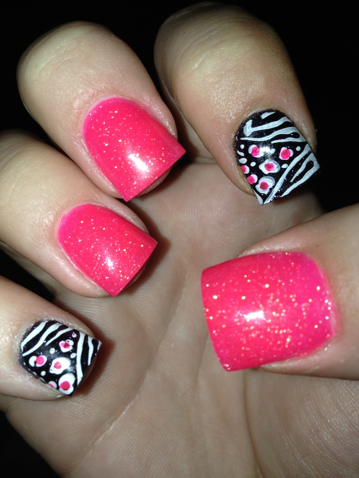 7 Pink Leopard Acrylic Nail Designs Images