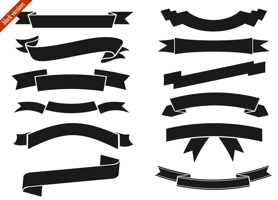 15 Black And White Ribbon Banner Vector Images