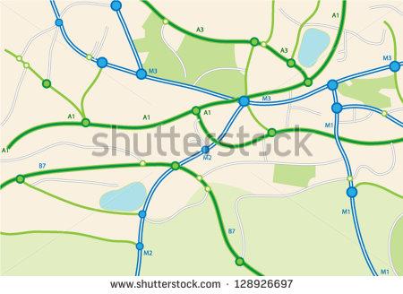 Road Map Vector Art