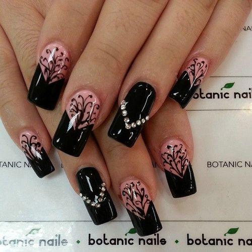 Short Nail Art Designs Pictures Black Background