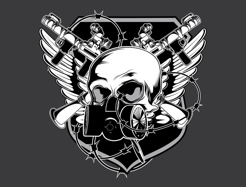 17 Free Vector Skulls And Guns Images