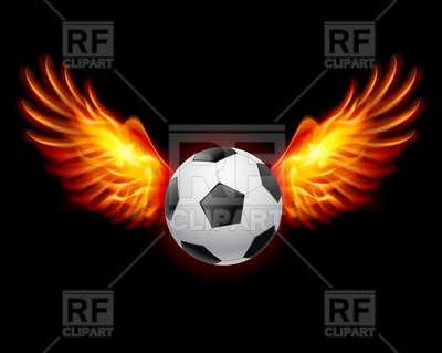 Soccer Ball with Wings Clip Art