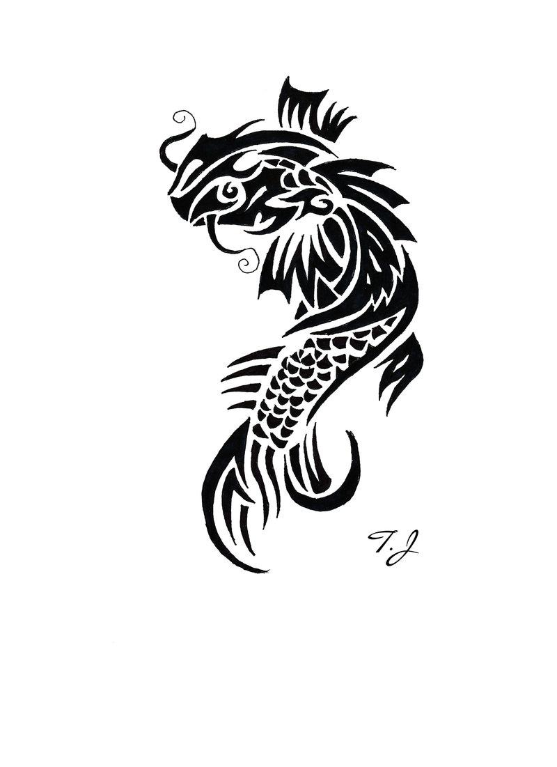 Tribal Koi Fish Tattoo Designs
