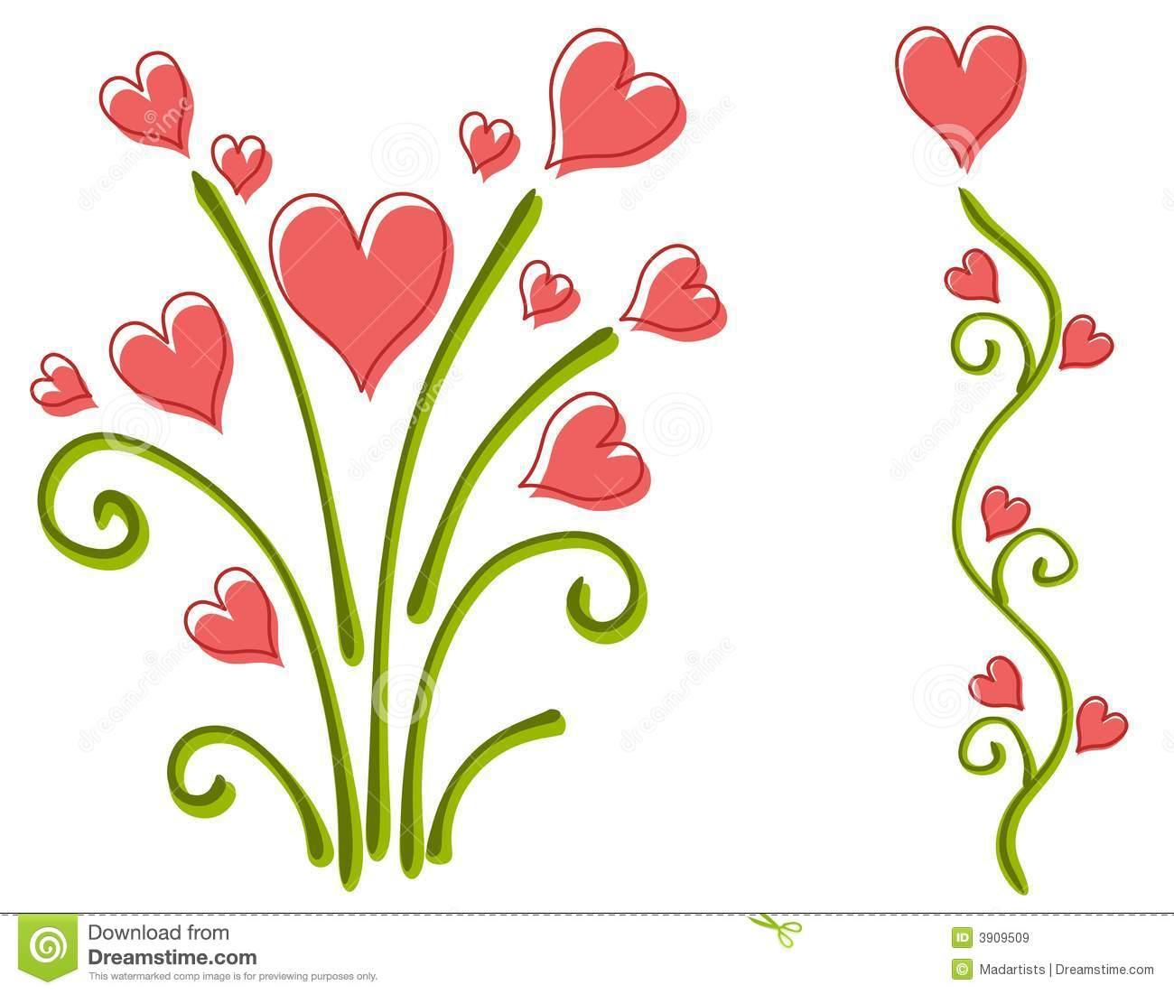 Valentine Heart and Flower Clip Art