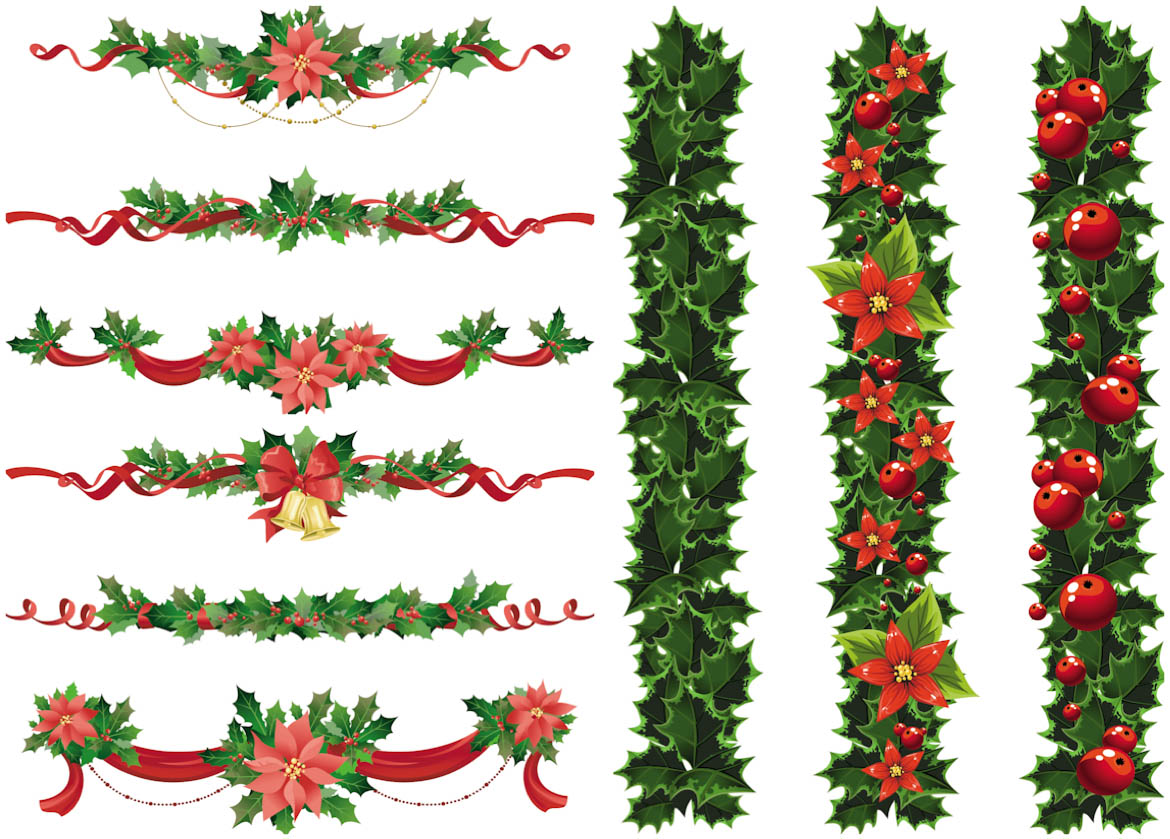 Vector Christmas Ornaments Clip Art Borders