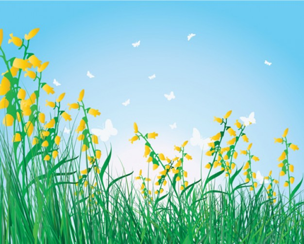 18 Grass Vector Background With Flowers Images