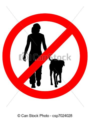 Walking Dog No Allowed Sign