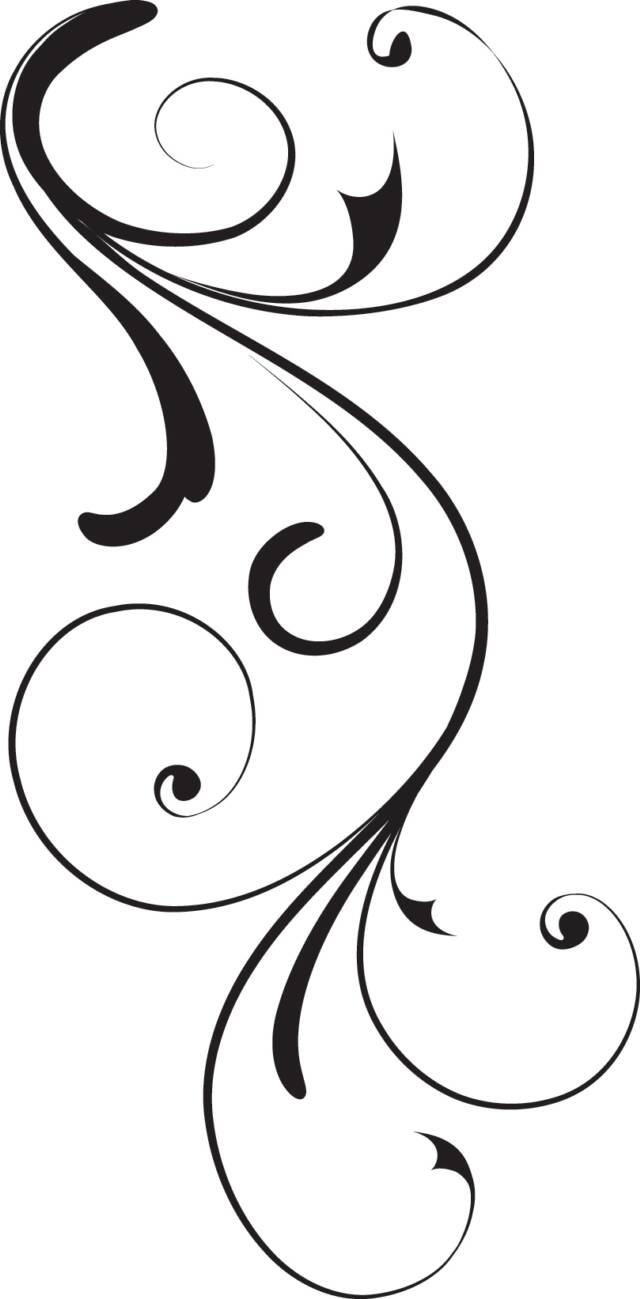 8 Elegant Swirl Designs Clip Art Images