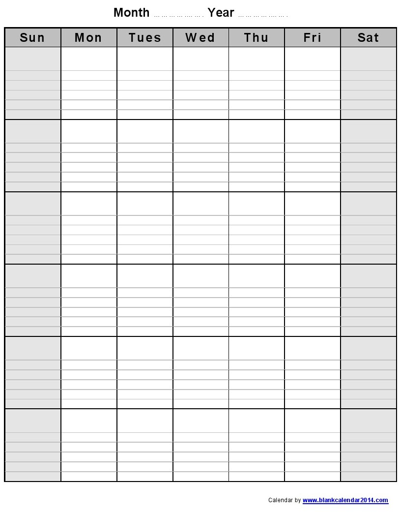 Weekly Calendar Blank : Blank printable weekly calendars templates images