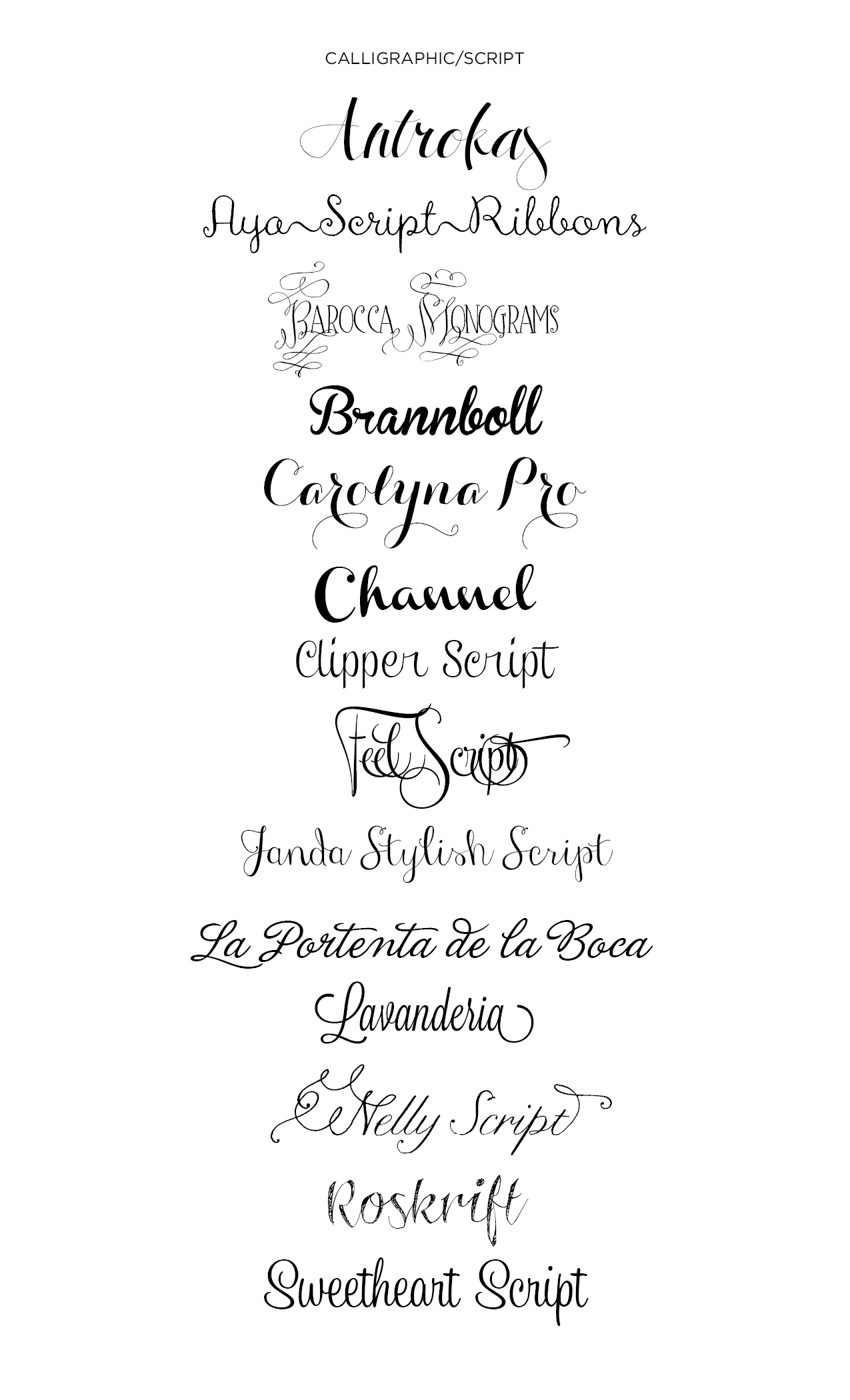 12 Cute Calligraphy Fonts Images