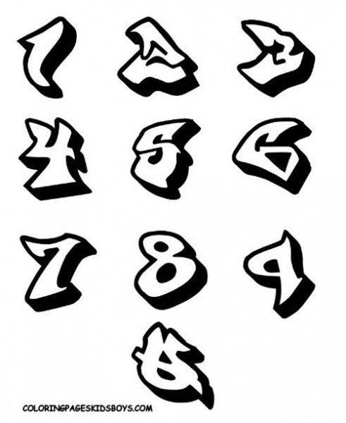 10 Graffiti Font Numbers Images