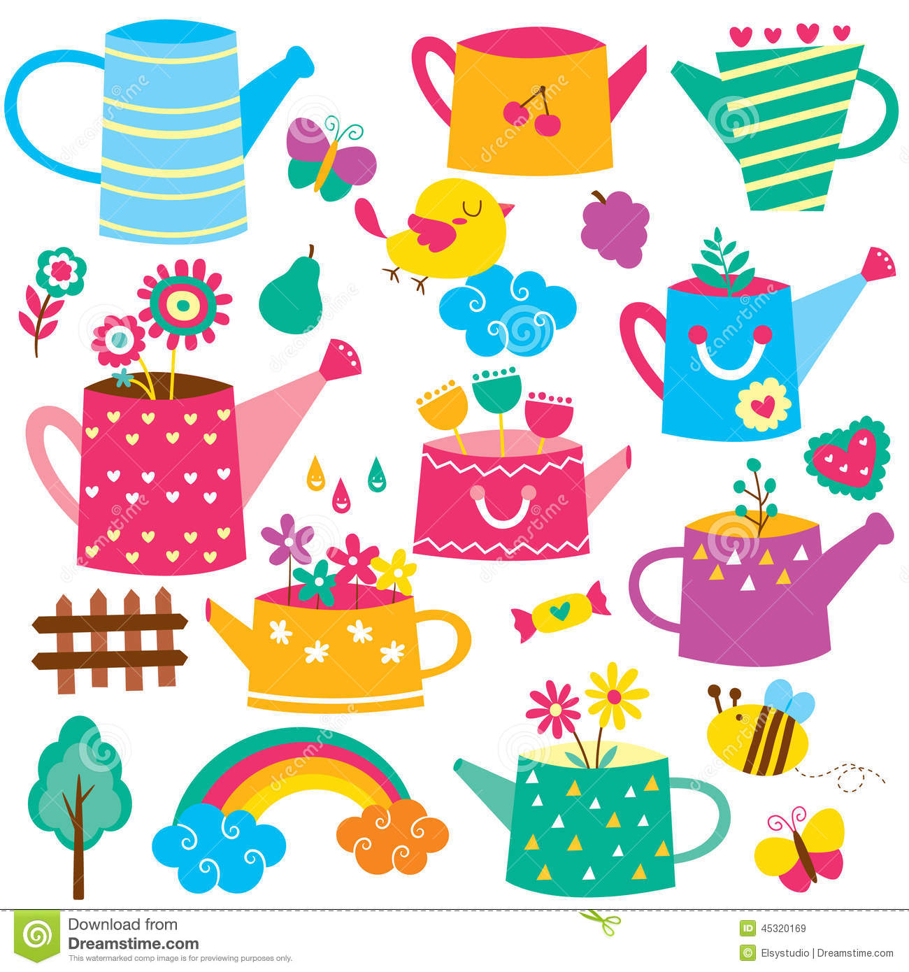 Flowers with Watering Can Clip Art