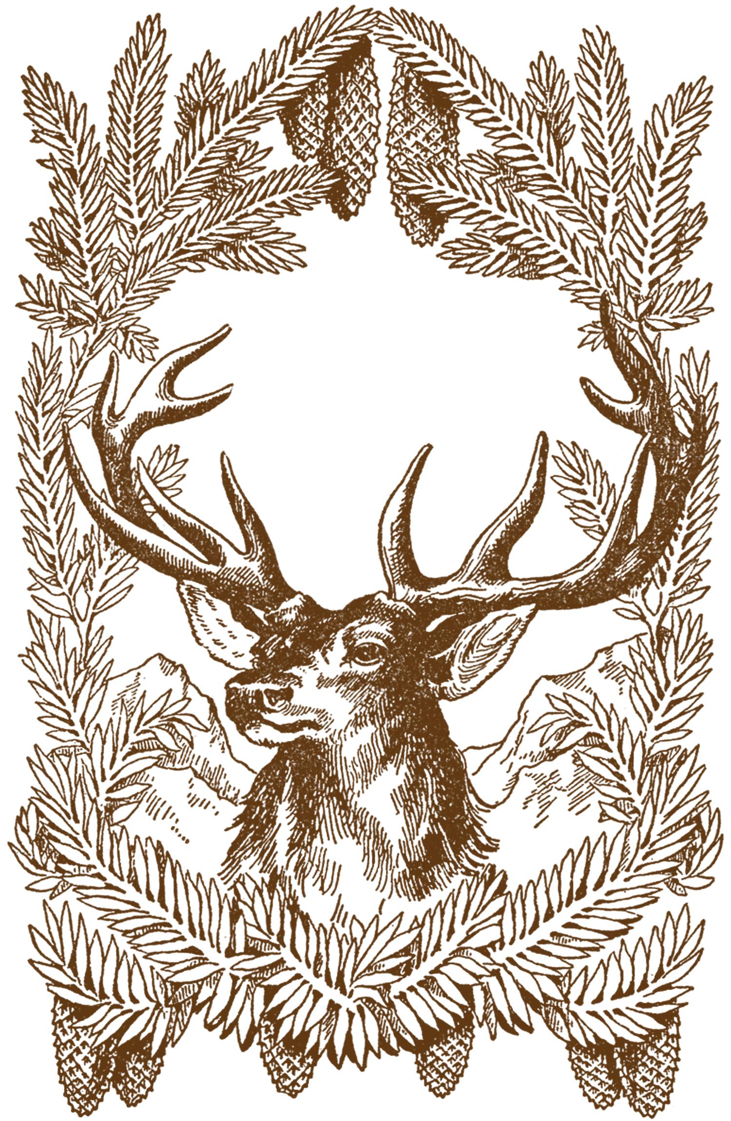 Free Vintage Christmas Deer