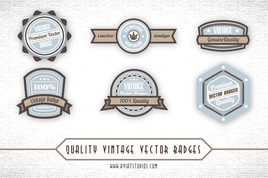 16 Vintage Name Badge Vector Images