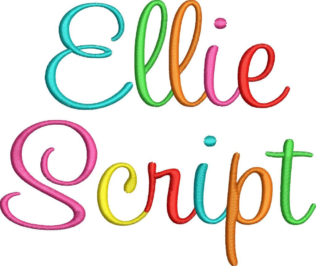 14 Script Embroidery Font Applique Images
