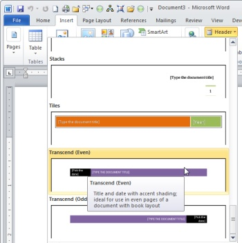 Microsoft Word Header Designs